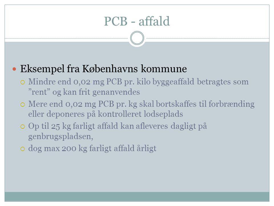 PCB - affald Eksempel fra Københavns kommune
