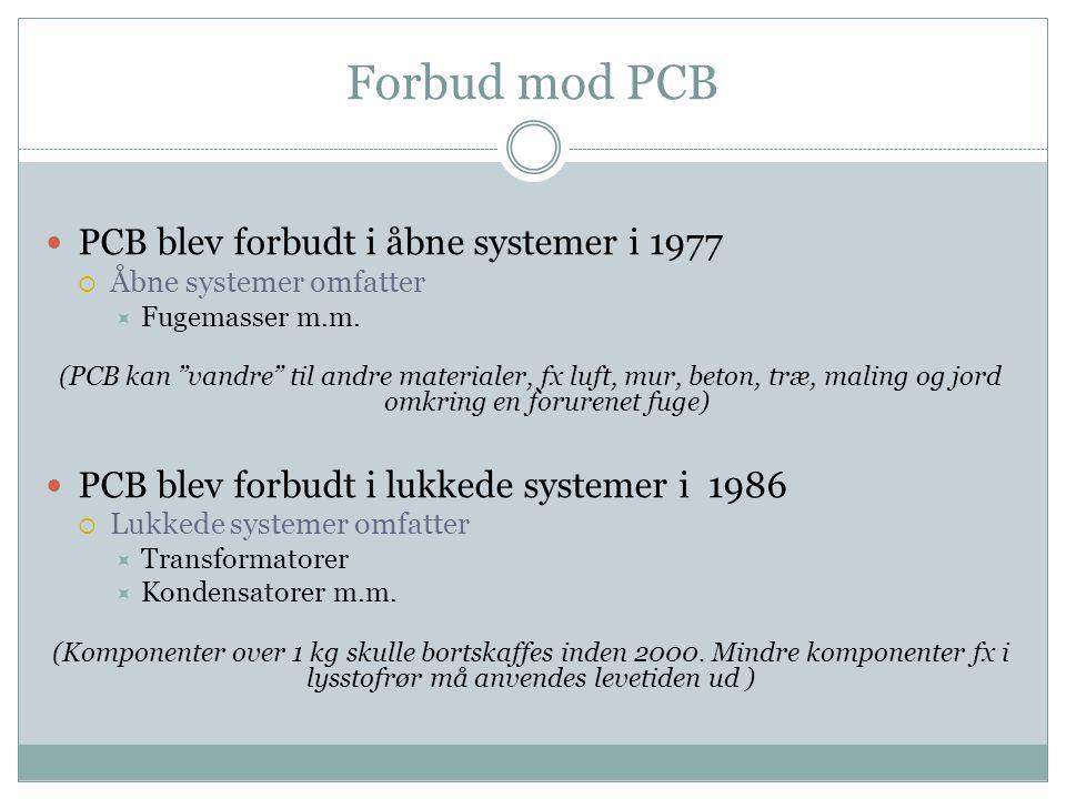 Forbud mod PCB PCB blev forbudt i åbne systemer i 1977