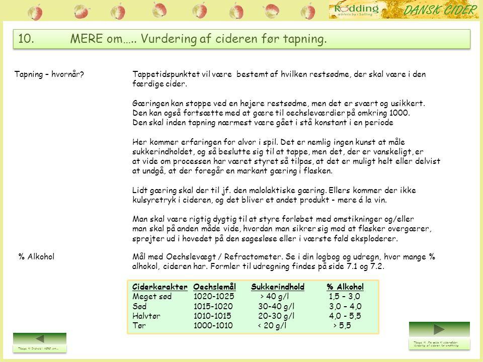10. MERE om….. Vurdering af cideren før tapning.