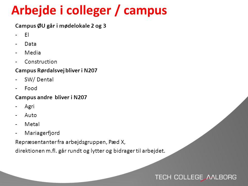 Arbejde i colleger / campus