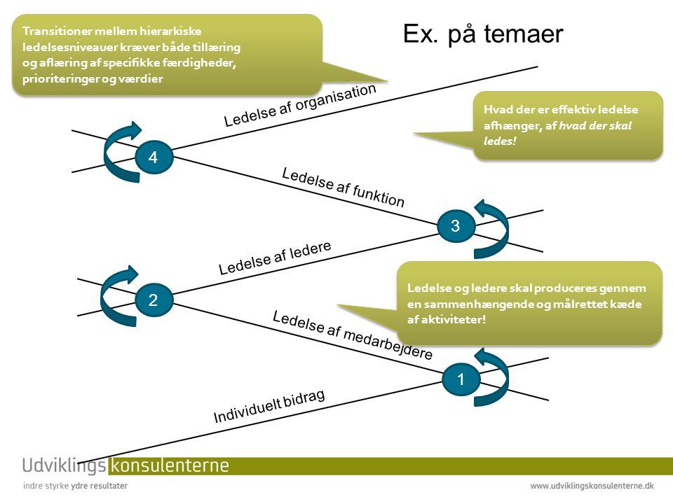 Ex. på temaer 4 3 2 1 Ledelse af organisation Ledelse af funktion