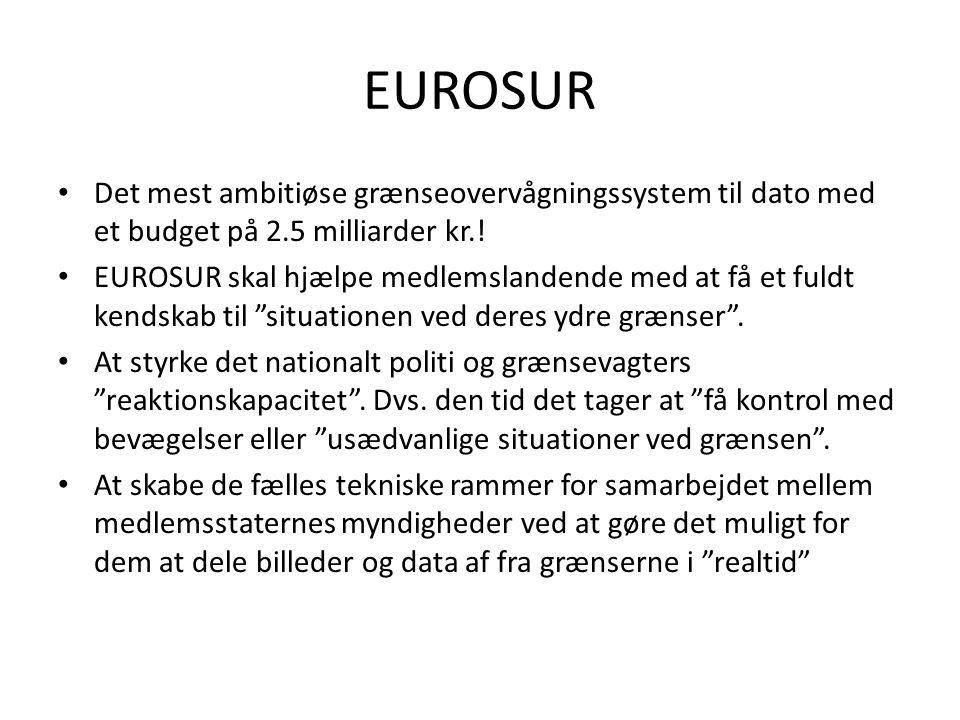 EUROSUR Det mest ambitiøse grænseovervågningssystem til dato med et budget på 2.5 milliarder kr.!