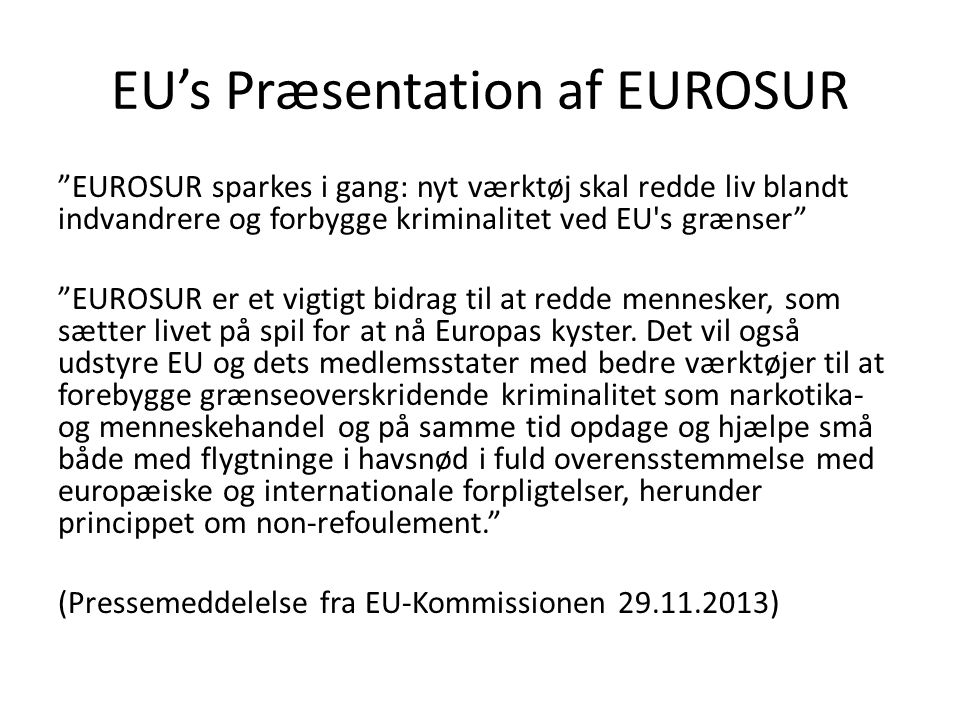 EU's Præsentation af EUROSUR