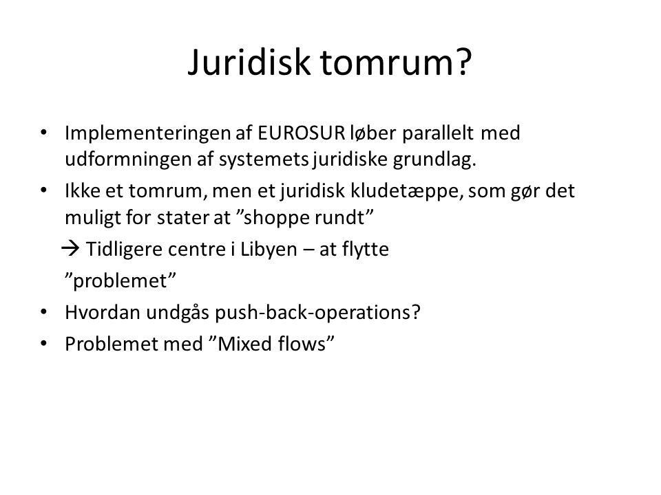 Juridisk tomrum Implementeringen af EUROSUR løber parallelt med udformningen af systemets juridiske grundlag.