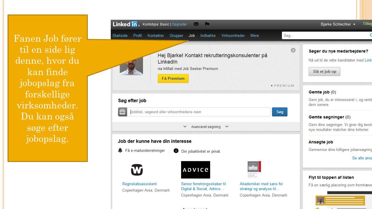 Fanen Job fører til en side lig denne, hvor du kan finde jobopslag fra forskellige virksomheder.