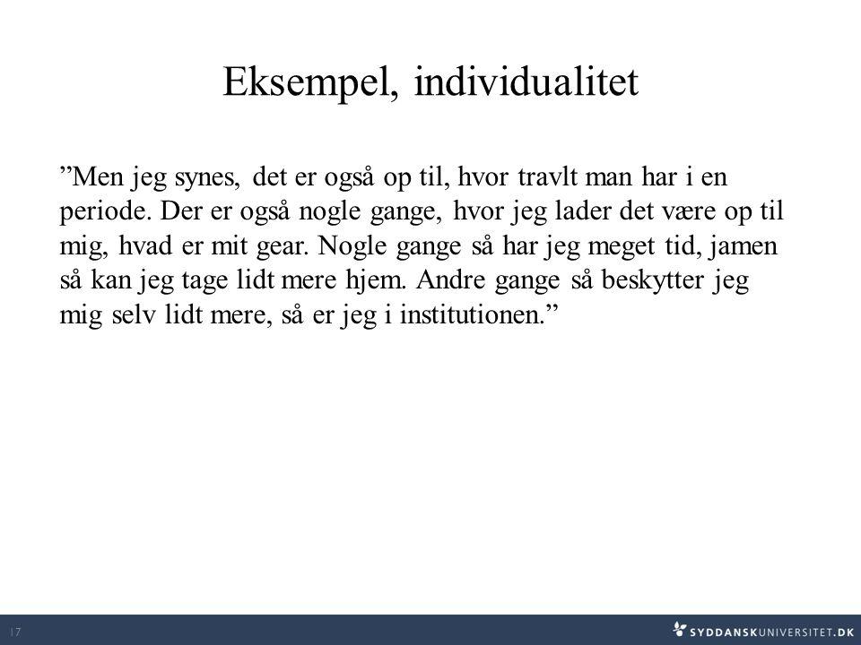 Eksempel, individualitet