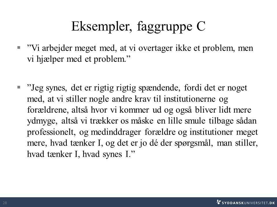 Eksempler, faggruppe C Vi arbejder meget med, at vi overtager ikke et problem, men vi hjælper med et problem.