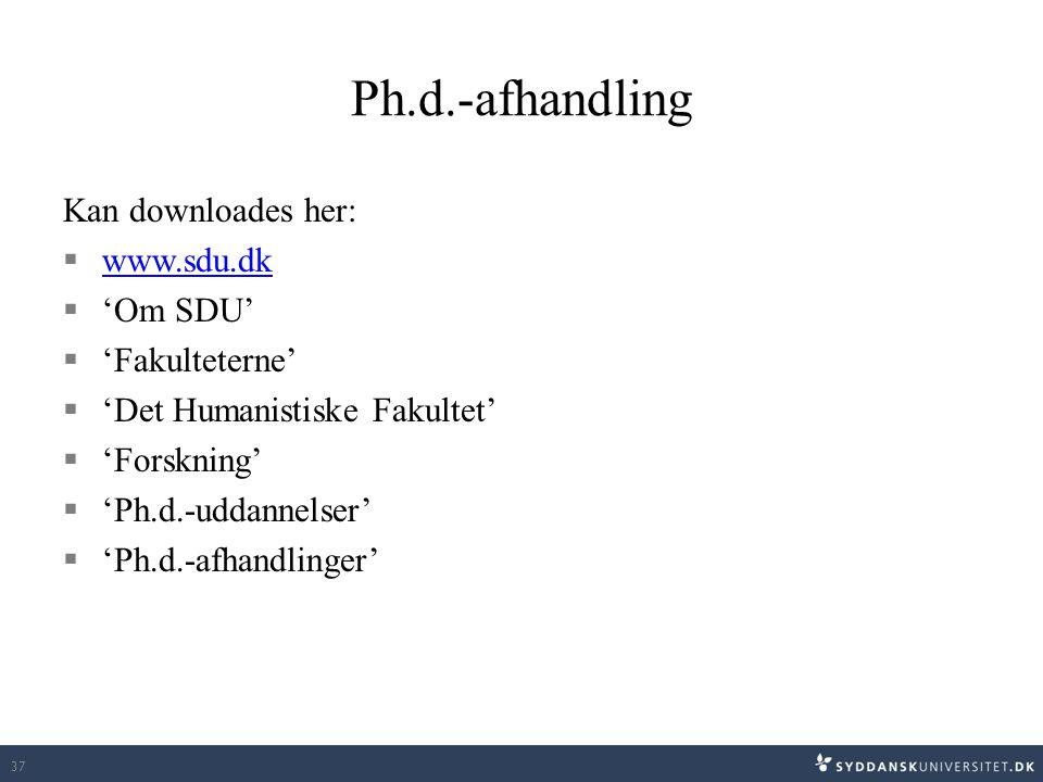 Ph.d.-afhandling Kan downloades her: www.sdu.dk 'Om SDU'