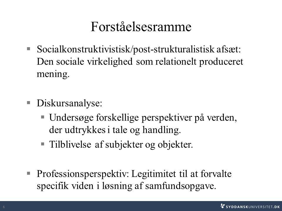 Forståelsesramme Socialkonstruktivistisk/post-strukturalistisk afsæt: Den sociale virkelighed som relationelt produceret mening.