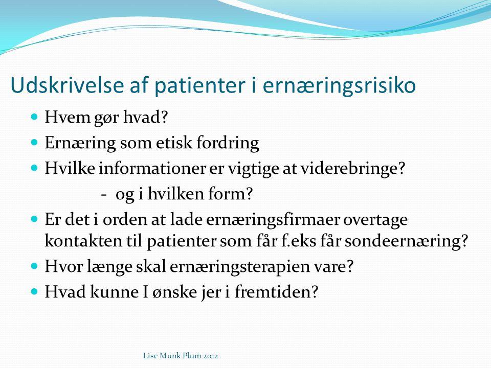 Udskrivelse af patienter i ernæringsrisiko