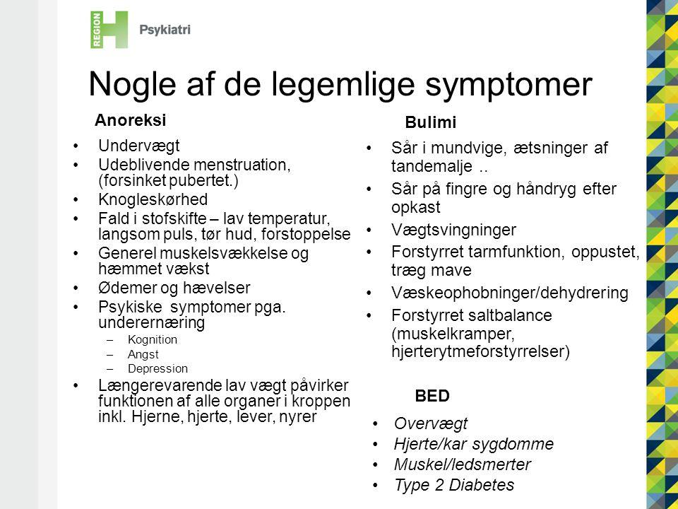 Nogle af de legemlige symptomer