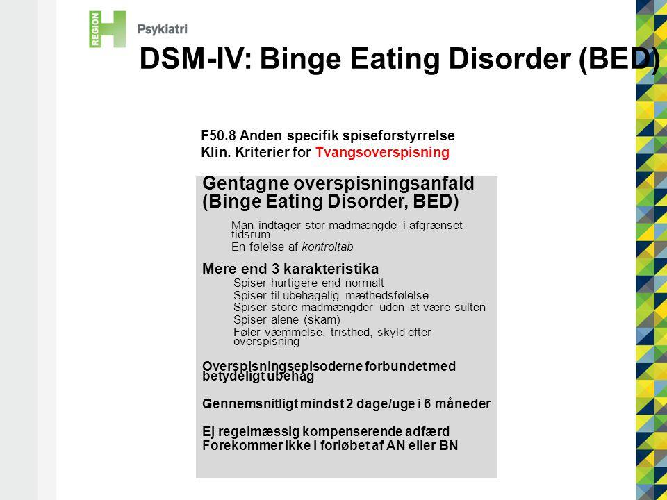 DSM-IV: Binge Eating Disorder (BED)