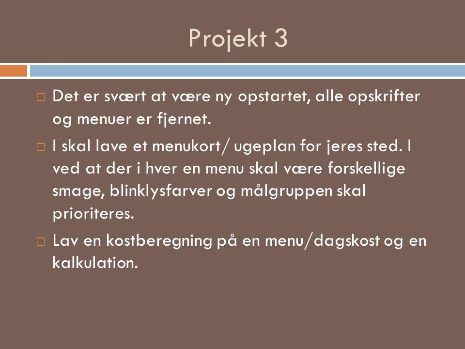 Projekt 3 Det er svært at være ny opstartet, alle opskrifter og menuer er fjernet.
