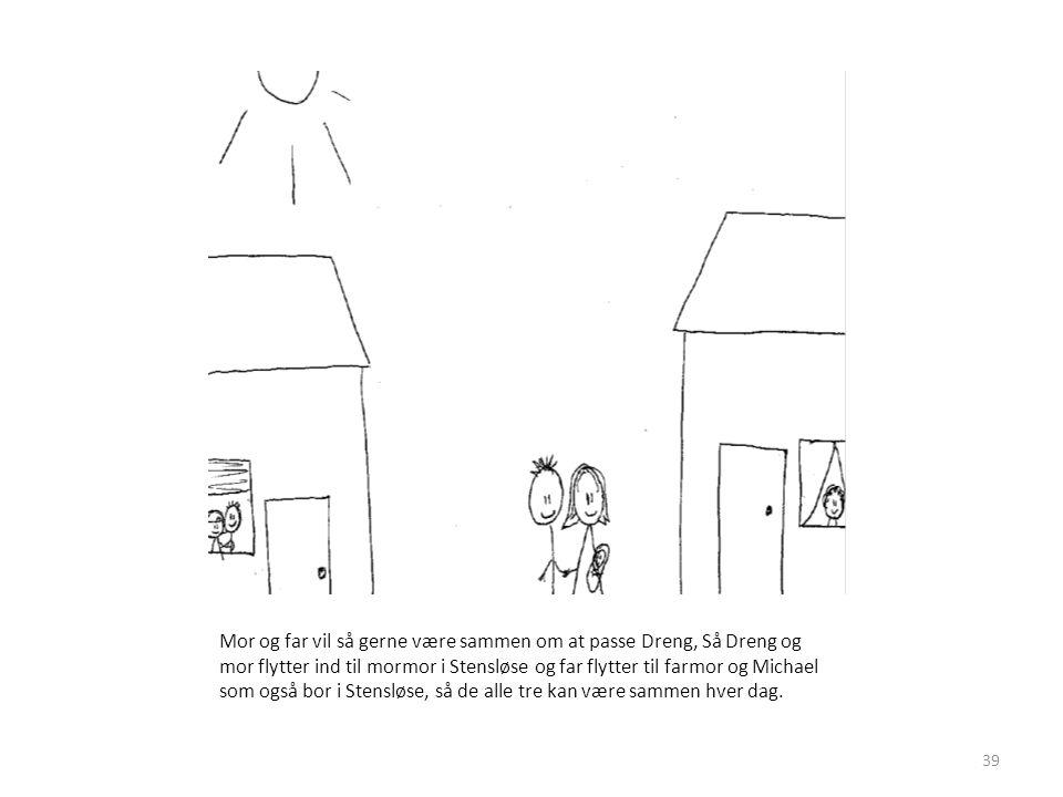 Mor og far vil så gerne være sammen om at passe Dreng, Så Dreng og mor flytter ind til mormor i Stensløse og far flytter til farmor og Michael som også bor i Stensløse, så de alle tre kan være sammen hver dag.