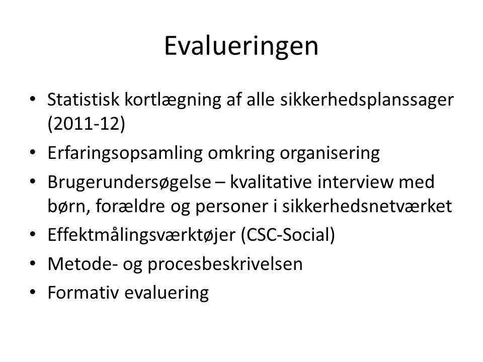 Evalueringen Statistisk kortlægning af alle sikkerhedsplanssager (2011-12) Erfaringsopsamling omkring organisering.
