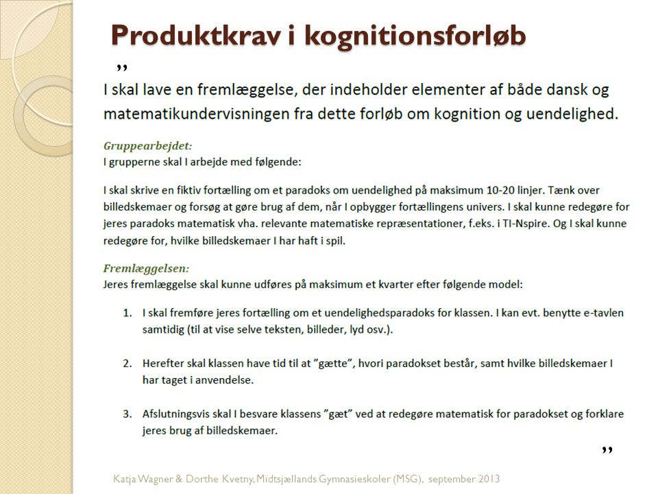 Produktkrav i kognitionsforløb