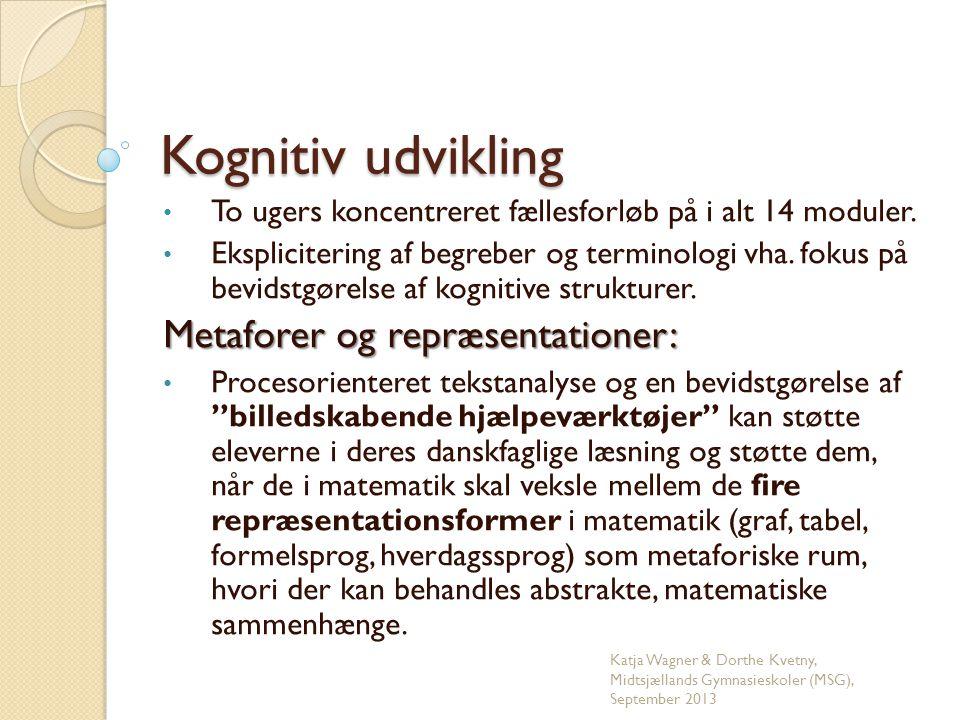 Kognitiv udvikling Metaforer og repræsentationer: