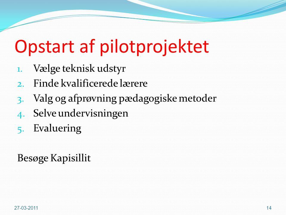 Opstart af pilotprojektet