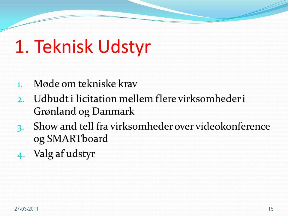 1. Teknisk Udstyr Møde om tekniske krav