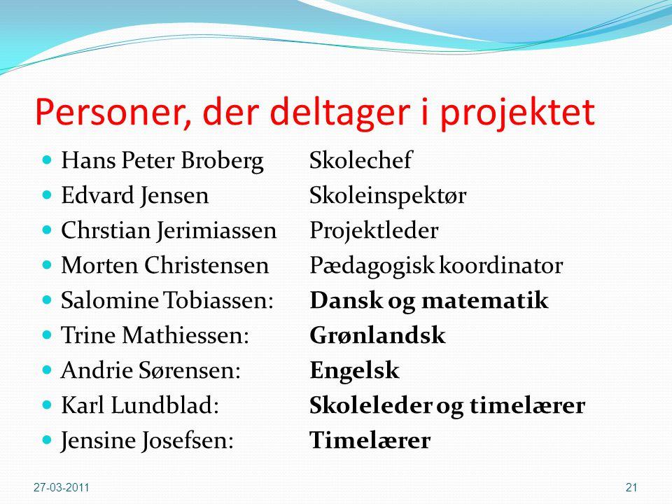 Personer, der deltager i projektet