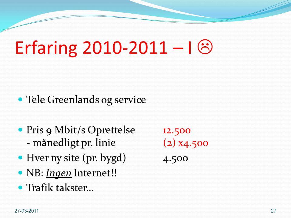 Erfaring 2010-2011 – I  Tele Greenlands og service