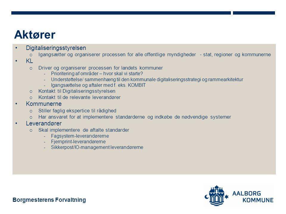 Aktører Digitaliseringsstyrelsen KL Kommunerne Leverandører