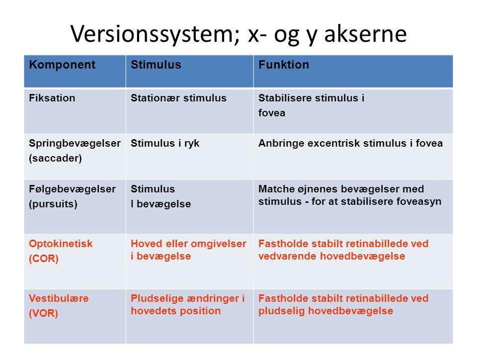 Versionssystem; x- og y akserne