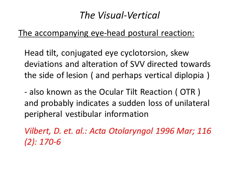 The Visual-Vertical The accompanying eye-head postural reaction: