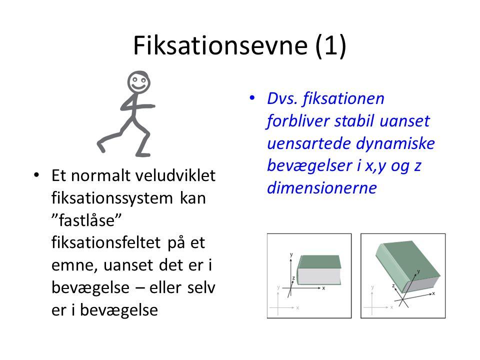 Fiksationsevne (1) Dvs. fiksationen forbliver stabil uanset uensartede dynamiske bevægelser i x,y og z dimensionerne.