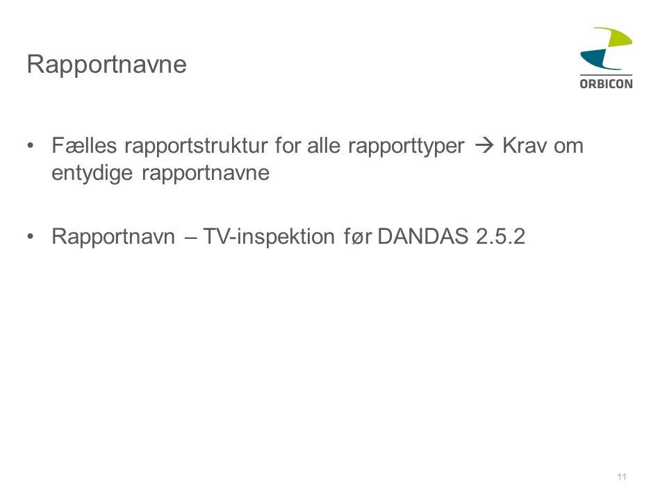 Rapportnavne Fælles rapportstruktur for alle rapporttyper  Krav om entydige rapportnavne.