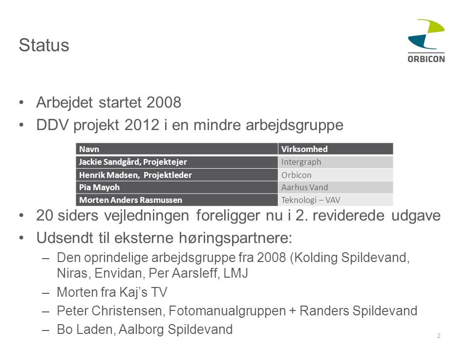 Status Arbejdet startet 2008