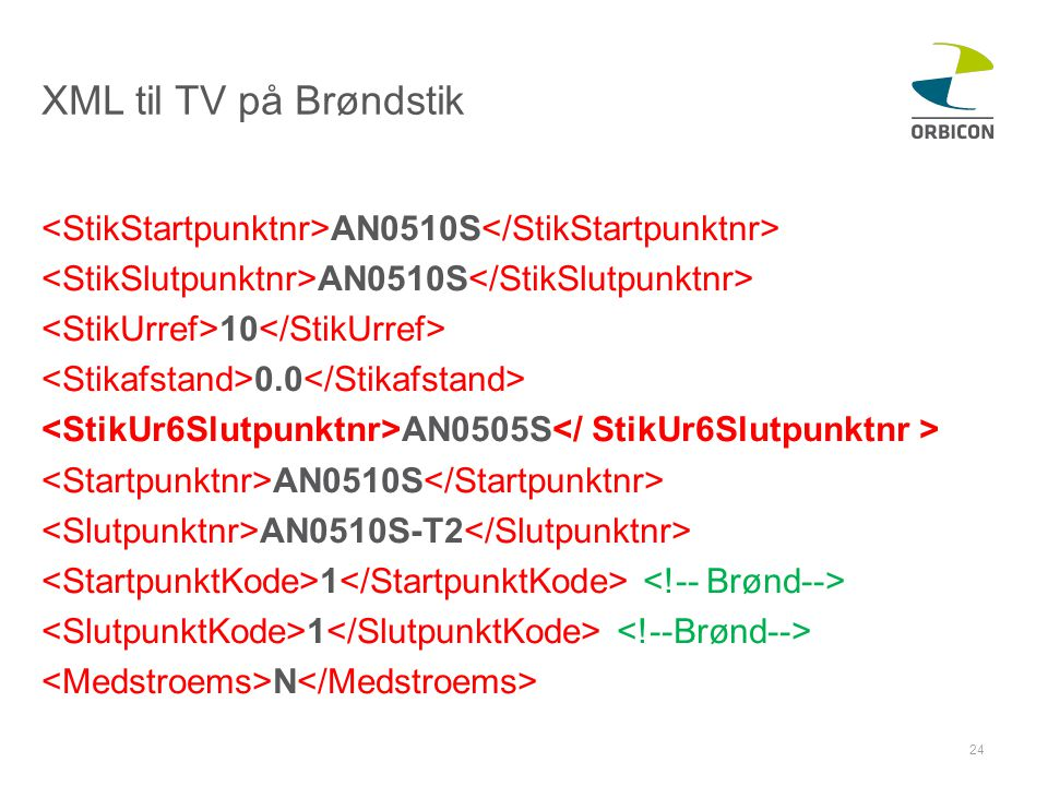 XML til TV på Brøndstik <StikStartpunktnr>AN0510S</StikStartpunktnr> <StikSlutpunktnr>AN0510S</StikSlutpunktnr>