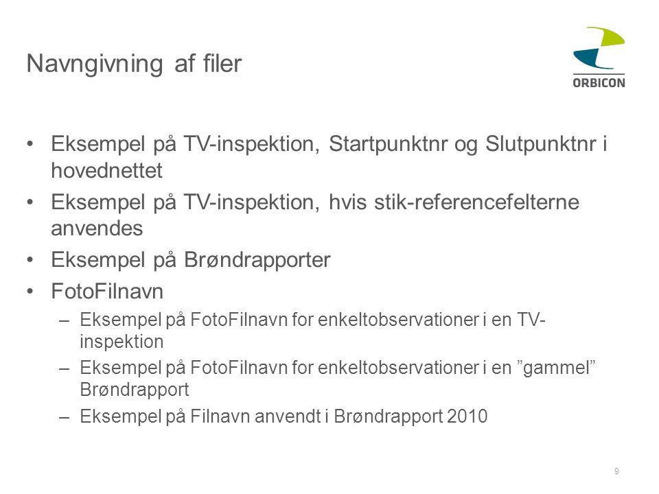 Navngivning af filer Eksempel på TV-inspektion, Startpunktnr og Slutpunktnr i hovednettet.