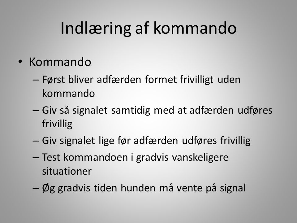 Indlæring af kommando Kommando