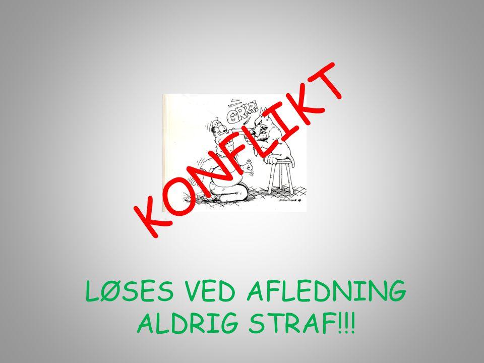 KONFLIKT LØSES VED AFLEDNING ALDRIG STRAF!!!