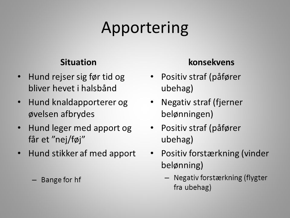 Apportering Situation konsekvens