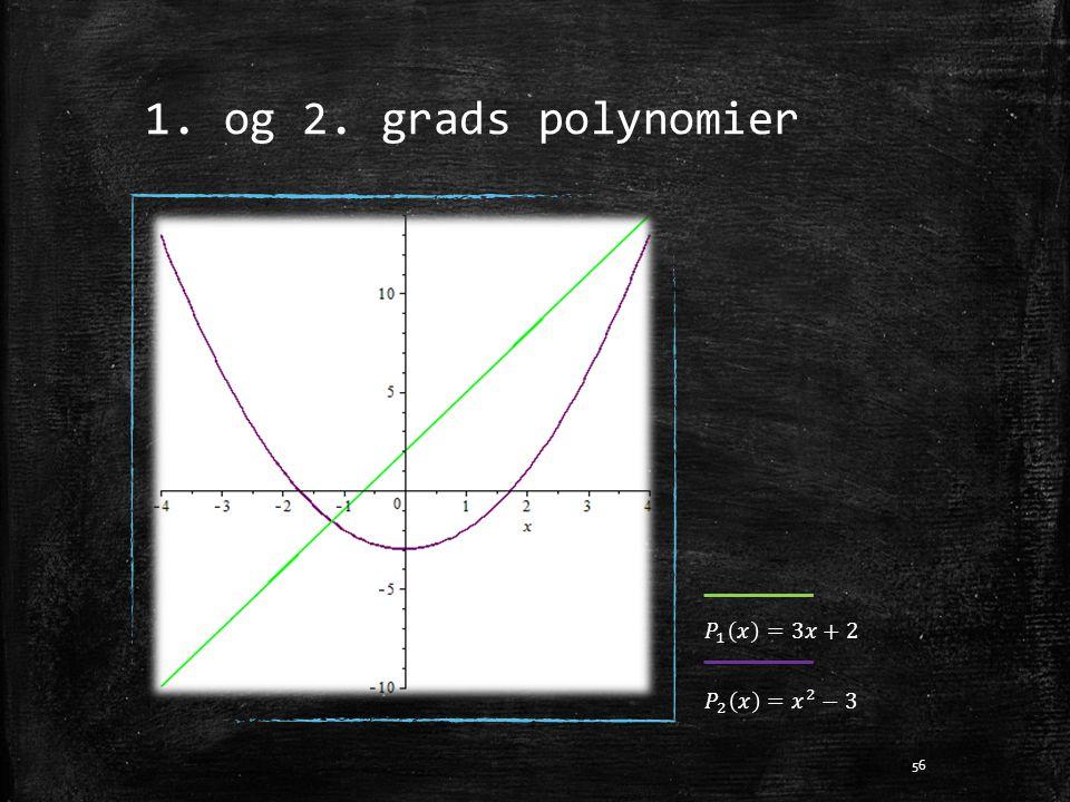 1. og 2. grads polynomier 𝑃 1 𝑥 =3𝑥+2 𝑃 2 𝑥 = 𝑥 2 −3