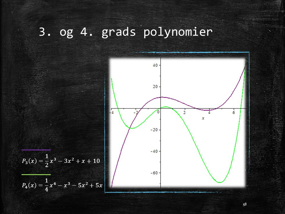 3. og 4. grads polynomier 𝑃 3 𝑥 = 1 2 𝑥 3 −3 𝑥 2 +𝑥+10