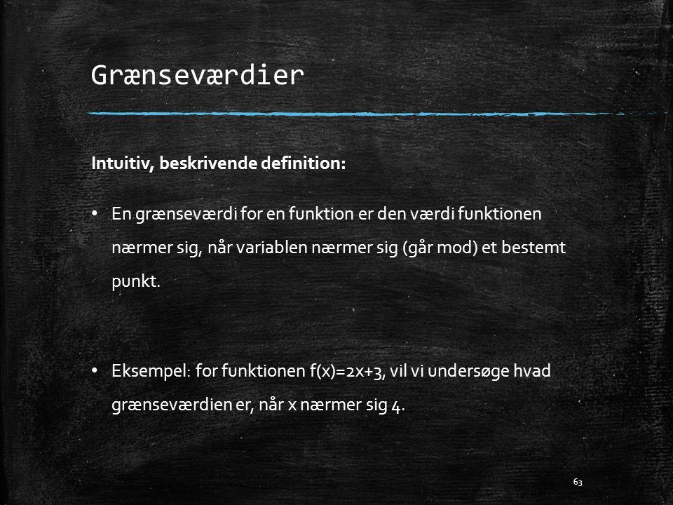 Grænseværdier Intuitiv, beskrivende definition: