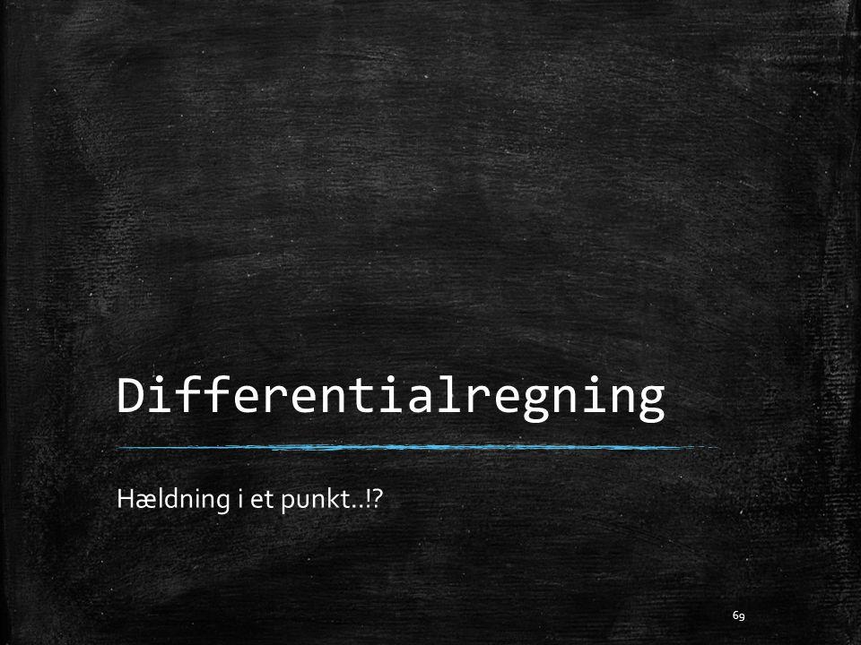 Differentialregning Hældning i et punkt..!