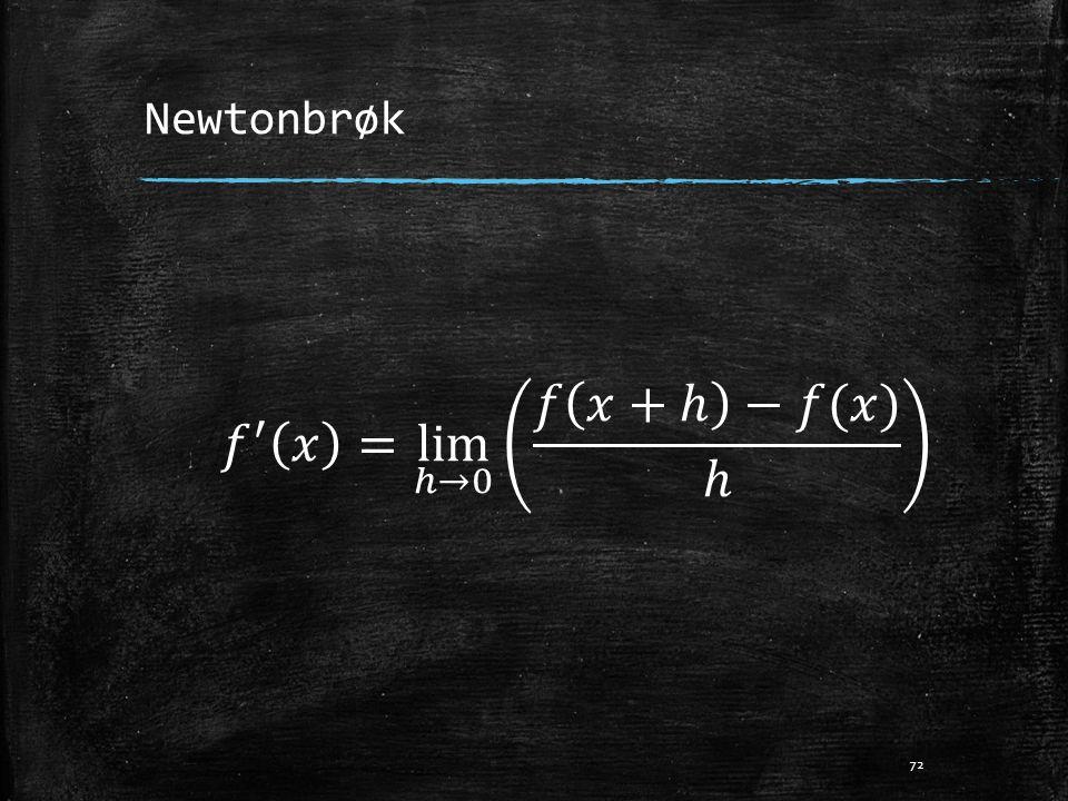 Newtonbrøk 𝑓 ′ 𝑥 = lim ℎ→0 𝑓 𝑥+ℎ −𝑓(𝑥) ℎ