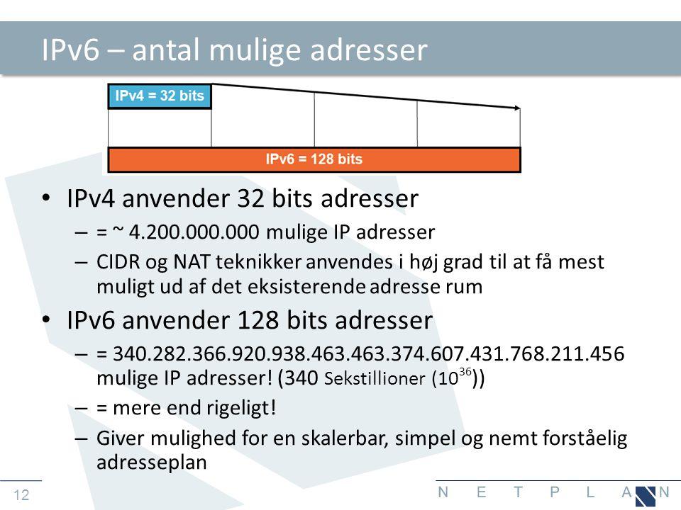 IPv6 – antal mulige adresser