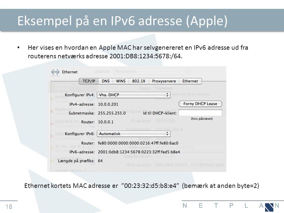 Eksempel på en IPv6 adresse (Apple)