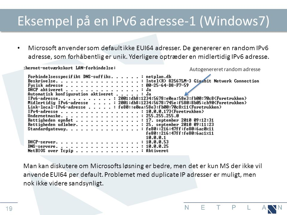 Eksempel på en IPv6 adresse-1 (Windows7)