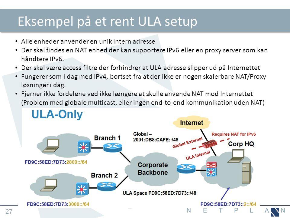 Eksempel på et rent ULA setup