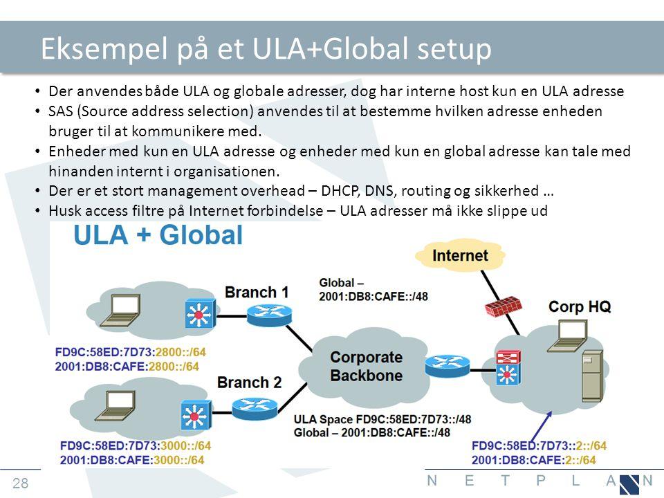 Eksempel på et ULA+Global setup