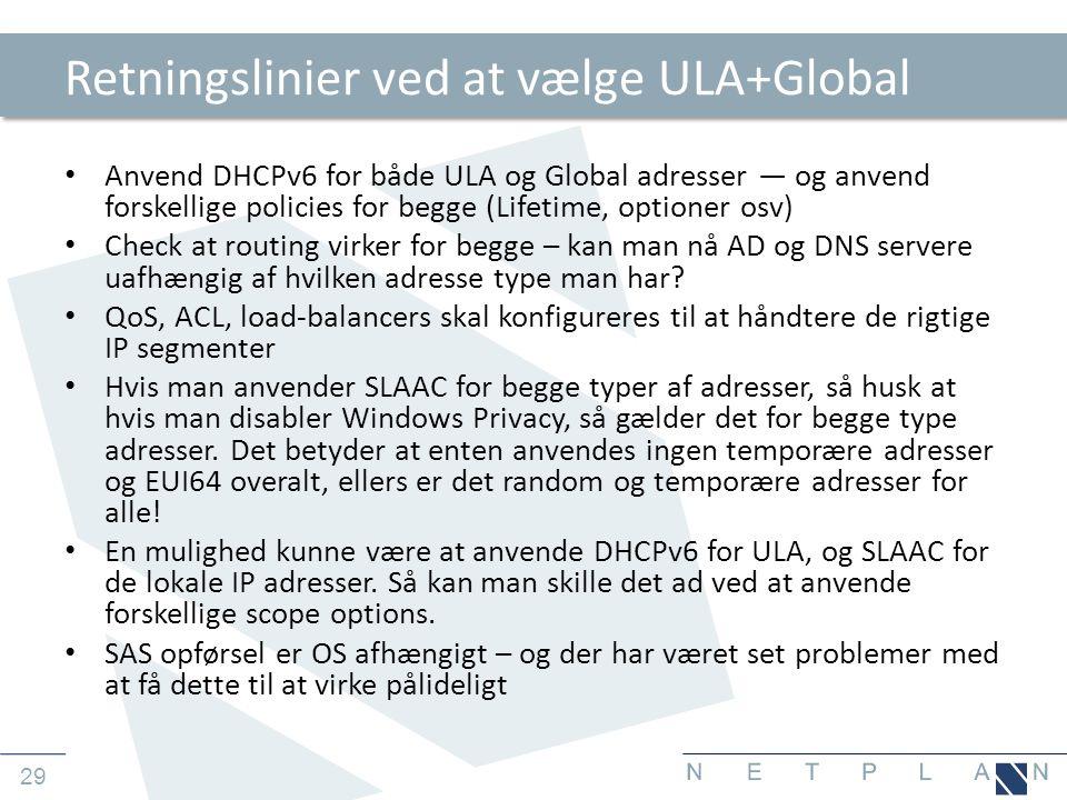 Retningslinier ved at vælge ULA+Global
