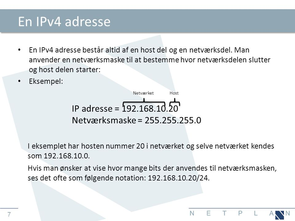 En IPv4 adresse IP adresse = 192.168.10.20
