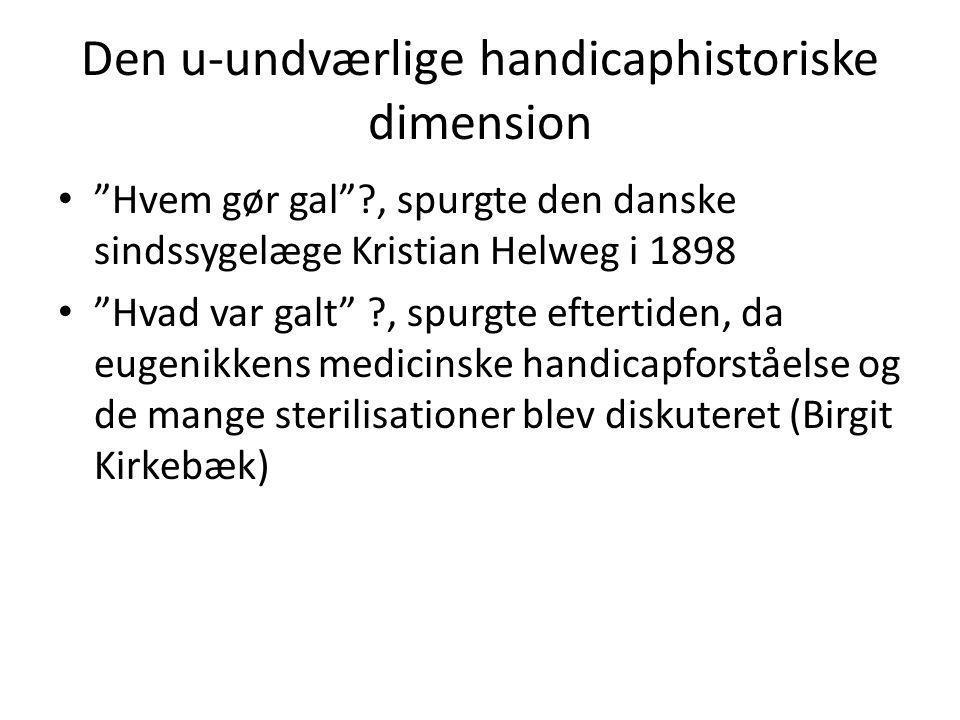Den u-undværlige handicaphistoriske dimension