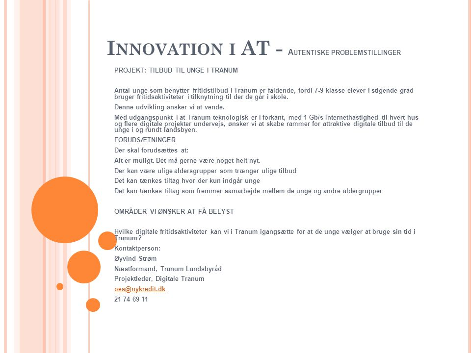 Innovation i AT - Autentiske problemstillinger